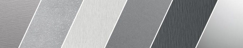 Oberflächen von Roofinox Edelstahl für Innenausstattung, wie Wandverkleidung, Deckenverkleidung, Theken und Garderoben.