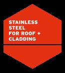 Edelstahl für Dach + Fassade, rotes Logo auf englisch
