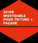 HFX Edelstahl für Dach + Fassade Logo auf französisch