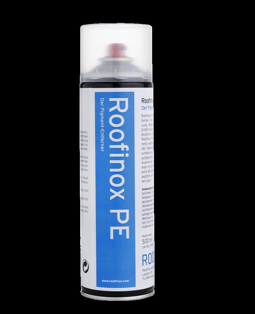 Roofinox PE entfernt Pigmentierungsschicht. Entferner ist speziell für die Roofinox Spectra Pigmentiertung.