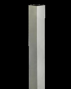 Ein Roofinox Edelstahl Dachablaufrohr kastenförmig oder Fallroh für die Entwässerung des Daches und Montage an der Dachrinne.