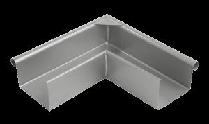Außeneckwinkel einer Dachrinnen mit Bauart kastenförmig beziehugnsweise quadratisch aus Roofinox Edelstahl