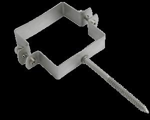 Roofinox Edelstahl Rohrschellen quadratisch zur Halterung der Kastenrinne, Dachrinne oder des Dachablaufrohrs in Kastenform.