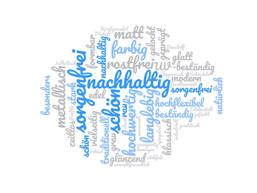 Wortwolke Edelstahl Eigenschaften